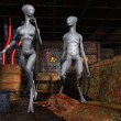 Aliens in an old base — Stock Photo