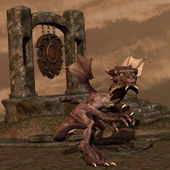 Jovem dragão em pose agressiva — Foto Stock