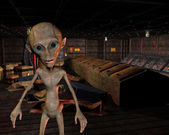 Alien in an old warehouse — Stock Photo