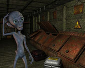 Alien in an old industrial plant — Stock Photo