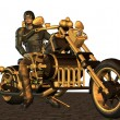 Biker with steam punk motocycle - Stockfoto