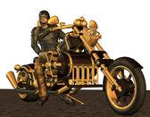 Biker con vapore punk motocycle — Foto Stock