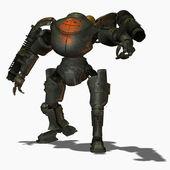 蒸汽朋克打击机器人正面视图 — 图库照片