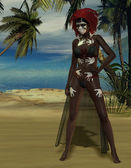 Voodoo priestess at the beach — Stock Photo