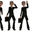 Illustration of businessman various poses — Stock Photo