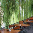 Beer Garden at Riverside — Stock Photo