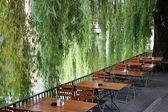 Beer Garden at Riverside — Stock Photo