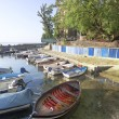 Boats in small fishing port — Stock Photo