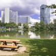 Picnic Park and Modern Buildings Vienna — Stock Photo