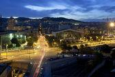 Nacht panorama van de stad barcelona spanje — Stockfoto