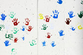 Children's hand prints — Stockfoto