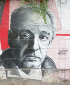 OPATIJA CROATIA - CIRCA JULY 2013: Vladimir Nabokov graffiti in — Stock Photo