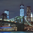 Stock Photo: Brooklyn bridge and Manhattskyline, New York City
