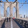 Stockfoto: Walkway Brooklyn Bridge New York City