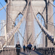 Stockfoto: Get Fit on Brooklyn Bridge New York City