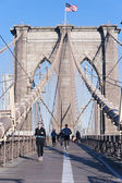 Get Fit on Brooklyn Bridge New York City — Stock Photo