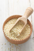 Sesame seeds and oil — Stock Photo