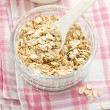 Oat flakes and milk — Stock Photo