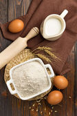 Flour, eggs and milk — Stock Photo