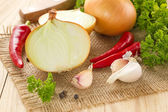 Onion, garlic and chilli — Stock Photo