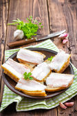 Sandwiches with lard — Stock Photo