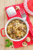 Cabbage with mushrooms — Stock Photo