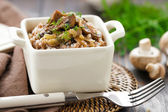 Buckwheat porridge with mushrooms — Stock Photo