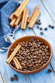 Káva a skořicí — Stock fotografie