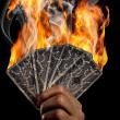Burning cards — Stock Photo