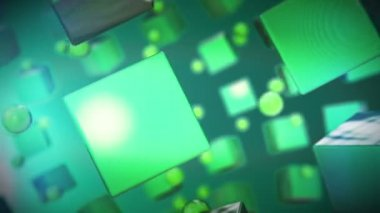 Rotation of the array green cubes — Stock Video