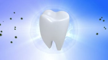 Tooth. Rotate tooth in blue background — Vidéo