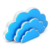 Clouds in 3d on white — Stock Photo