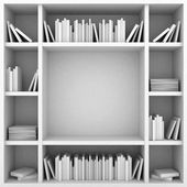 Bookshelves on a white background — Stock Photo