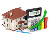 House, calculator and pen — Stock Photo