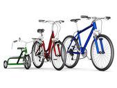Erkek, kadın ve çocuk bisikletleri — Stok fotoğraf