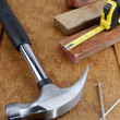 Stock Photo: Work tools on wood