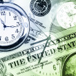 Clocks and cash — Stock Photo
