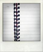 Close-up van open dagboek — Stockfoto