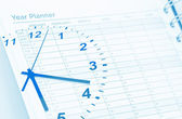 Clock and planner — Stock Photo