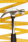 Hammer and ruler — Stock Photo