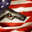 Stock Photo: Gun on flag