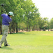 Swinging Golfer — Stock Photo