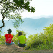 Girls Mountain Scenery — Stock Photo