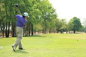 Swinging Golfer — Stock Photo