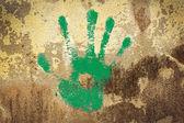 Gröna handen stämpel — Stockfoto