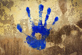Blue Hand Stamp — Stock Photo