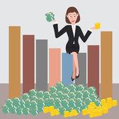Money Gold Lady — Stock Vector