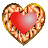Decorated Diamond Pattern Heart — Stock Vector