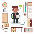 Busy Businessman — Stock Vector