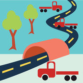 Road Tunnel Truck — Stock Vector
